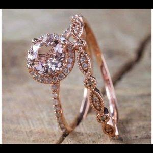 18k rose gold filled ring set